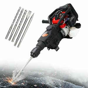 32.7CC 3in1 Gas Demolition Jack Hammer Concrete Breaker Punch Jackhammer Drill Breaker Chisel with 2-Stroke Motor for Roads and Walls Big Stone