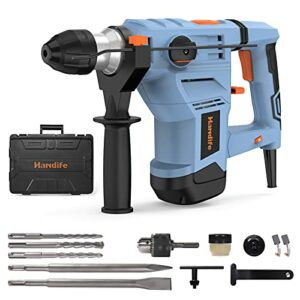 """Handife Heavy Duty Rotary Hammer Drill 12.5 Amp, 1-1/4"""" SDS-Plus, 3 Functions with Vibration Damping Technology, Safety Clutch, 6-Speed Regulation, Used for Concrete, Metal, and Stone"""