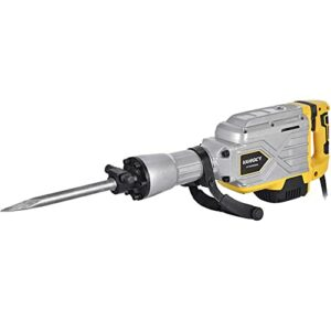 Houssem 3800W Electric Demolition Hammer 2100 BPM Heavy Duty Jack Hammer with 360°Rotating Front Handle and Flat Chisel,Bull Point Chisel