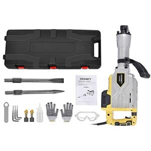Younar 3800W Electric Demolition Hammer Heavy Duty Concrete Breaker 2100 BPM Jack Hammer Demolition Drills with Flat Chisel Bull Point Chisel with Carrying Case Gloves Goggle and Removal Tools