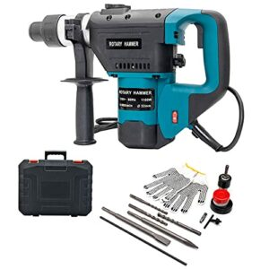 1-1/2 Inch SDS-Plus 1100W 110V Heavy Duty Rotary Hammer Drill, Safety Clutch 3 Functions with Vibration Control, Come with Drill Bits, Chisels, Lubrication and More