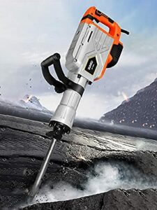 2200W Electric Demolition Hammer, 1900BPM Heavy Duty Jackhammer Demolition Drills Powerful Rock Pavement Concrete Breaker with Gloves, Wheeled Case, Goggle and Flat&Point Chisels Bits