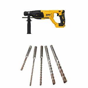 "DEWALT DCH133B 20V Max XR Brushless 1"" D-Handle Rotary Hammer Drill (Tool Only) with DEWALT DW5470 5-Piece Rock Carbide SDS Plus Hammer Bit Set"