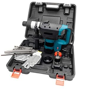 Rotary Hammer Drill Bit Set 1100W 110V Portable Craftsman Hammer Drill Ac Rotatable Handle Small Drills Suitable for Small Spaces Power Tool for Business Household with Drill Bit Gloves-Blue